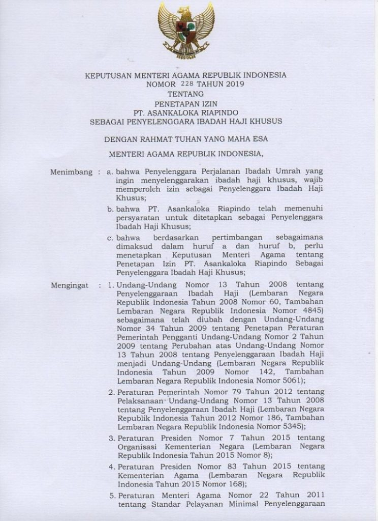 SK Haji PIHK 228 Tahun 2019
